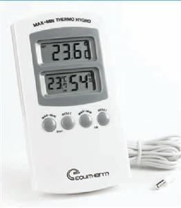 Termo-higrômetro digital, próprio para medições:Internas: temperaturas máxima e mínima através de sonda(sensor), bem como, umidade relativa.
