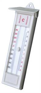 Termômetro de Máxima e Mínima em Plástico Tipo capela, com Enchimento em Mercúrio (Hg).